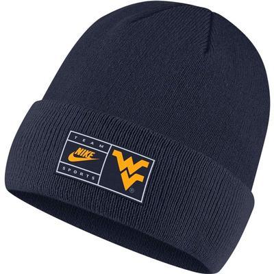 West Virginia Nike Throwback Label Cuff Beanie NAVY