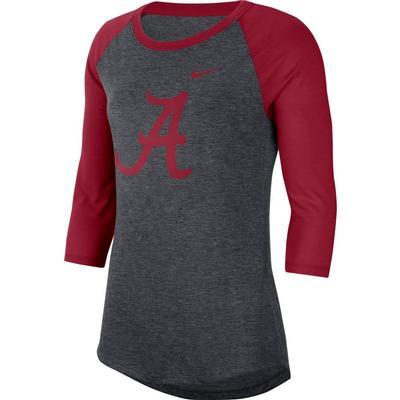 Alabama Nike Dri-Blend 3/4 Sleeve Raglan Tee