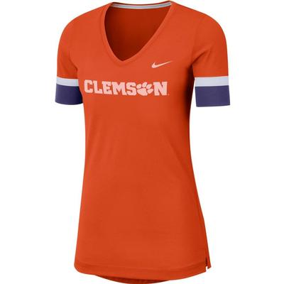 Clemson Nike Dry Top Fan V Neck Short Sleeve Tee