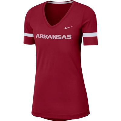 Arkansas Nike Dry Top Fan V Neck Short Sleeve Tee