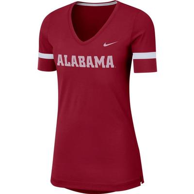 Alabama Nike Dry Top Fan V Neck Short Sleeve Tee