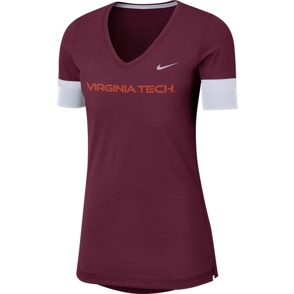 Virginia Tech Nike Dry Top Fan V Neck Short Sleeve Tee