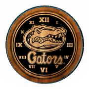 Florida Timeless Etchings Wine Barrel Head Gators With Logo Clock
