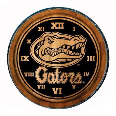 Florida Timeless Etchings Wine Barrel Head Gators With Logo Clock