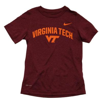 Virginia Tech Youth Boys Nike Legend Dri-Fit T-Shirt MAROON
