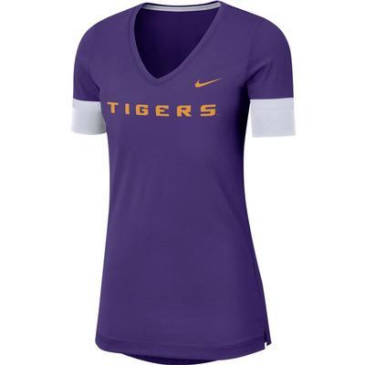 LSU Nike Dry Top Fan V Neck Short Sleeve Tee