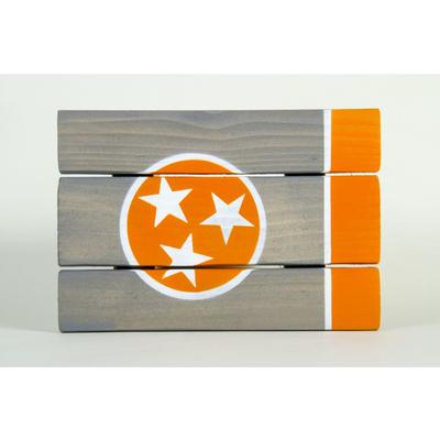 Orange and Grey Tennessee State Flag Wooden Sign (12