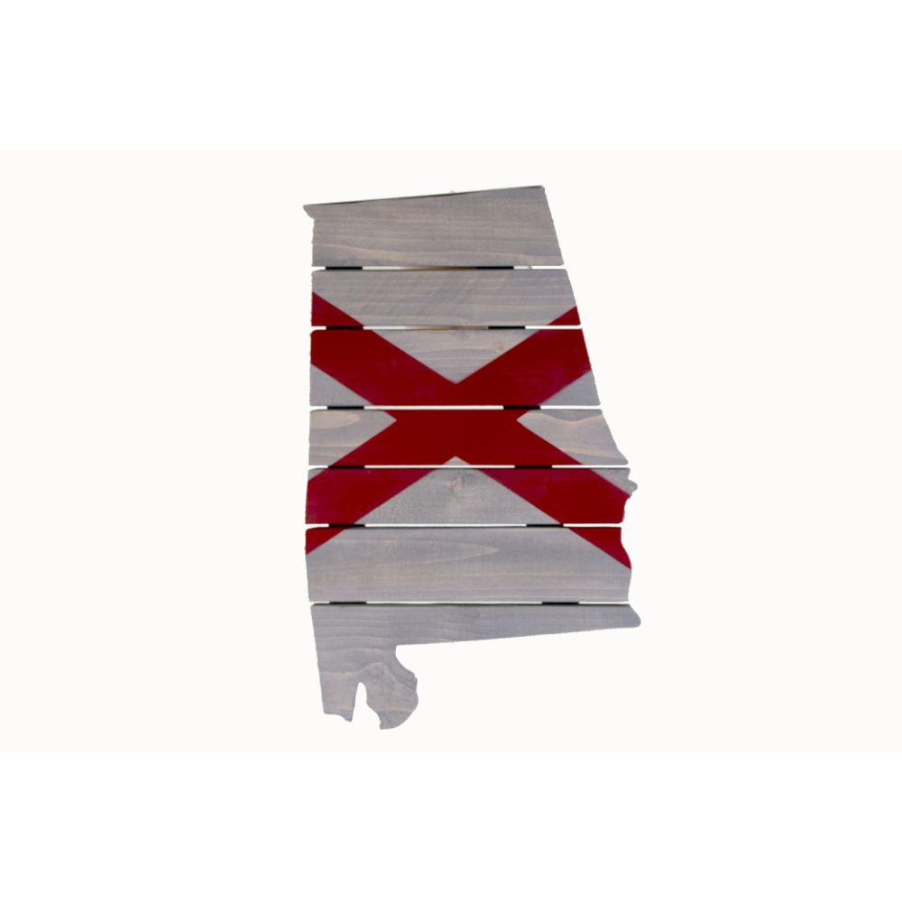 Crimson And Grey Alabama State Flag Wooden Sign (14.5