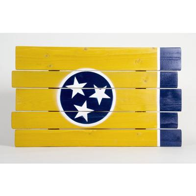 Navy and Gold Tennessee State Flag Wooden Sign (24