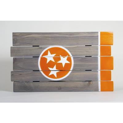 Orange and Grey Tennessee State Flag Wooden Sign (24