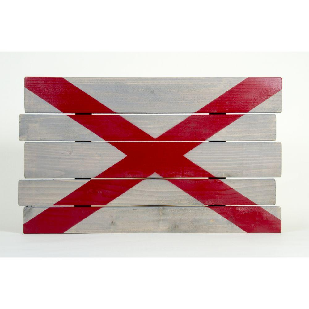 Crimson And Grey Alabama State Flag Wooden Sign (24