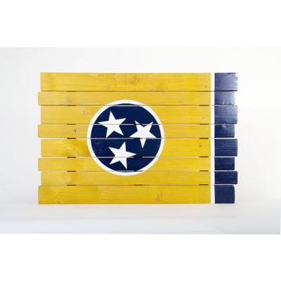 Gold and Navy Tristar Tennessee Flag Wooden Sign (35