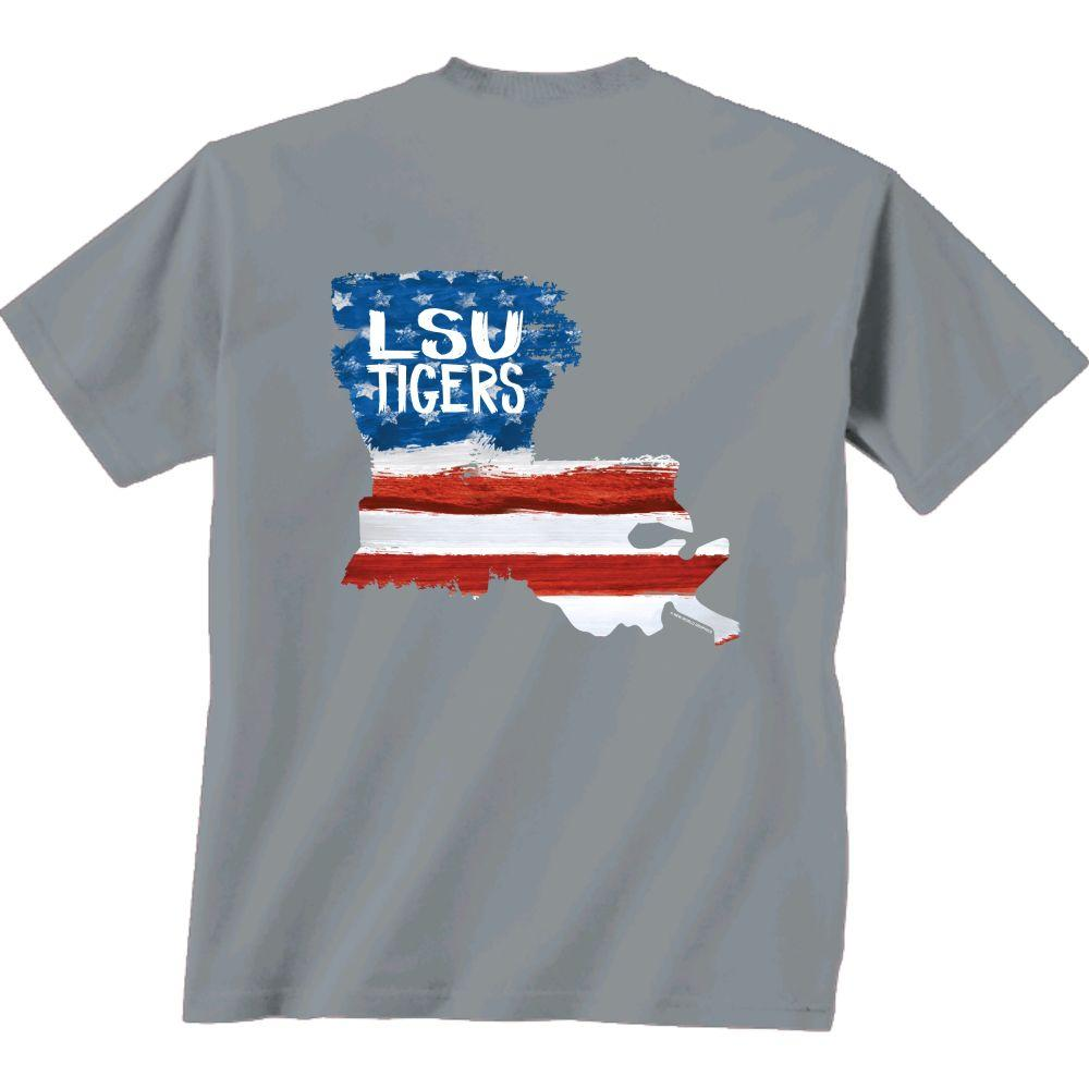 Lsu Patriotic Fill Comfort Colors Tee Shirt