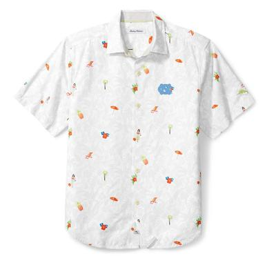 UNC Tommy Bahama Beach Cation Printed Camp Shirt