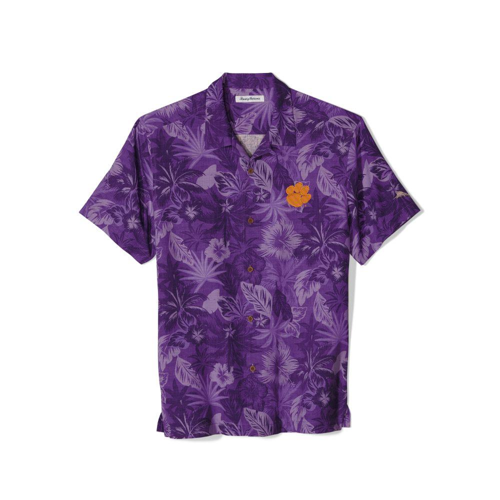Clemson Tommy Bahama Fuego Floral Camp Shirt