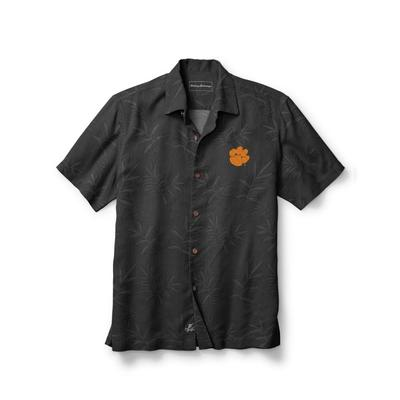 Clemson Tommy Bahama Luau Floral Core Camp Shirt BLACK
