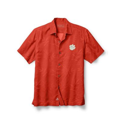 Clemson Tommy Bahama Luau Floral Core Camp Shirt SPICY_ORG