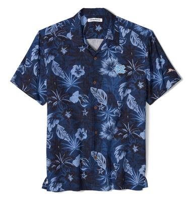 UNC Tommy Bahama Fuego Floral Camp Shirt