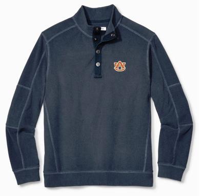 Auburn Tommy Bahama Fleecebender Snap Collar Sweatshirt