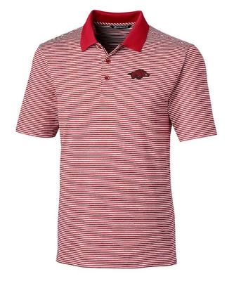 Arkansas Cutter and Buck Tonal Stripe Forge Polo