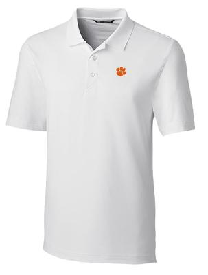 Clemson Cutter And Buck DryTec Forge Polo WHITE