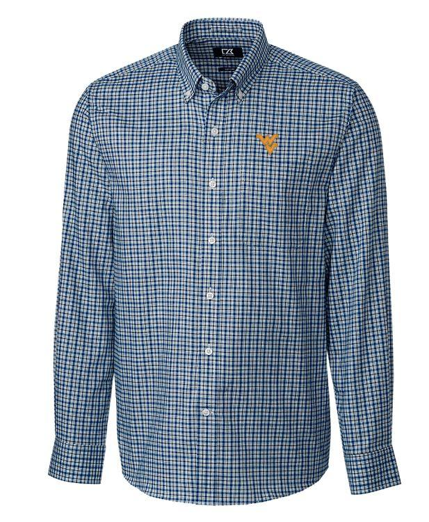 West Virginia Cutter And Buck Lakewood Check Dress Shirt