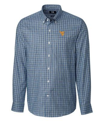West Virginia Cutter and Buck Lakewood Check Dress Shirt