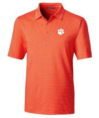 Clemson Cutter And Buck DryTec Pencil Stripe Forge Polo