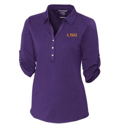LSU Cutter & Buck Women's Thrive Roll Sleeve Polo