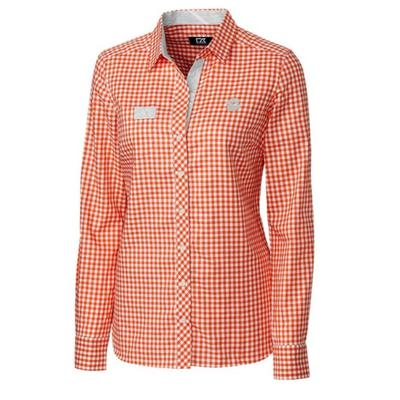 Clemson Cutter & Buck Women's Long Sleeve Gingham Button