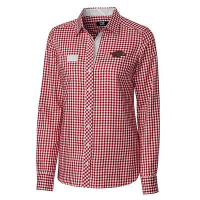 Arkansas Cutter & Buck Women's Gingham Buttondown Shirt