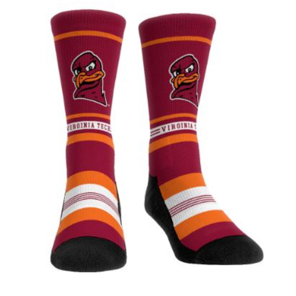 Virginia Tech Rock ' Em Hokiebird Striped Socks