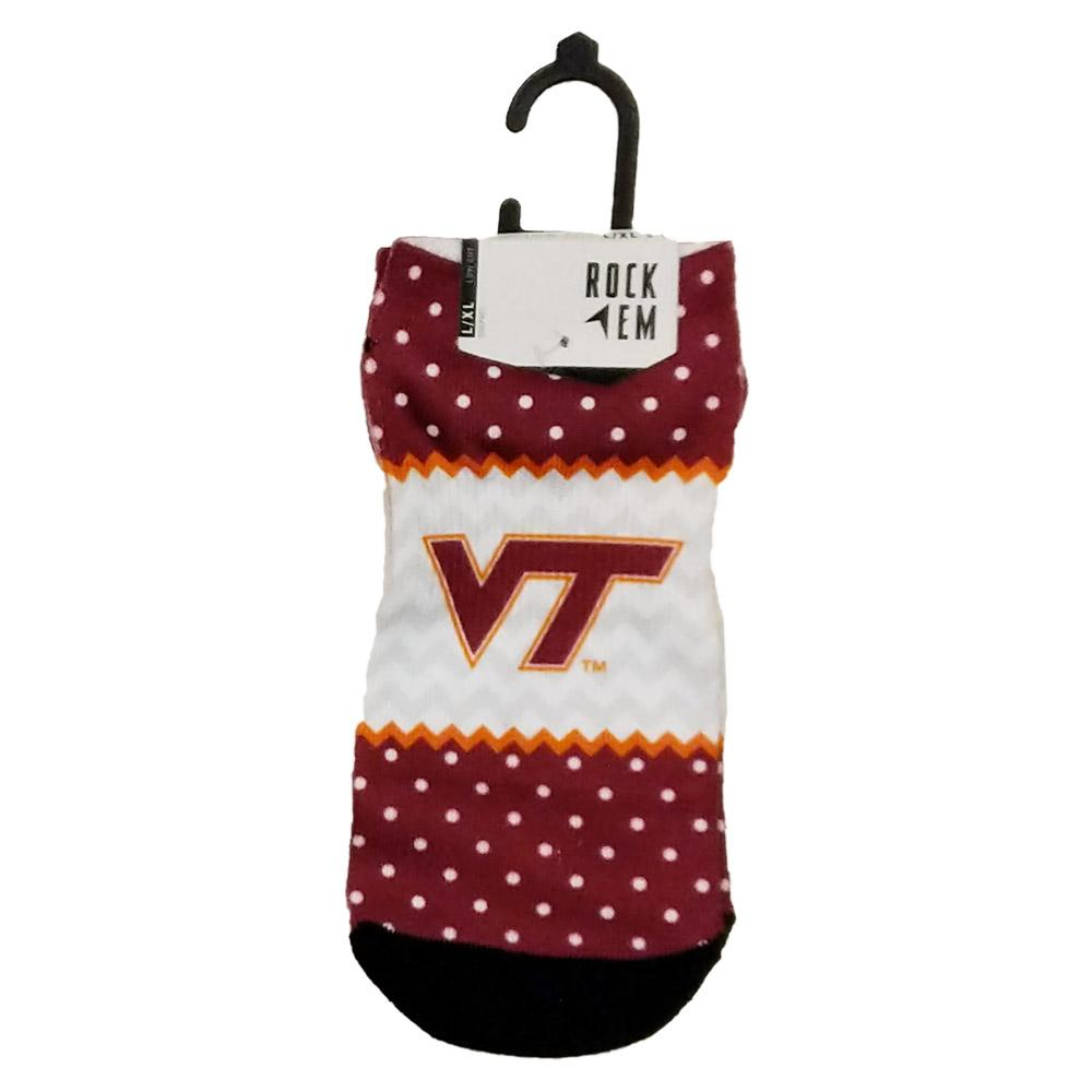Virginia Tech Rock ' Em Low Cut Polka Dot Socks