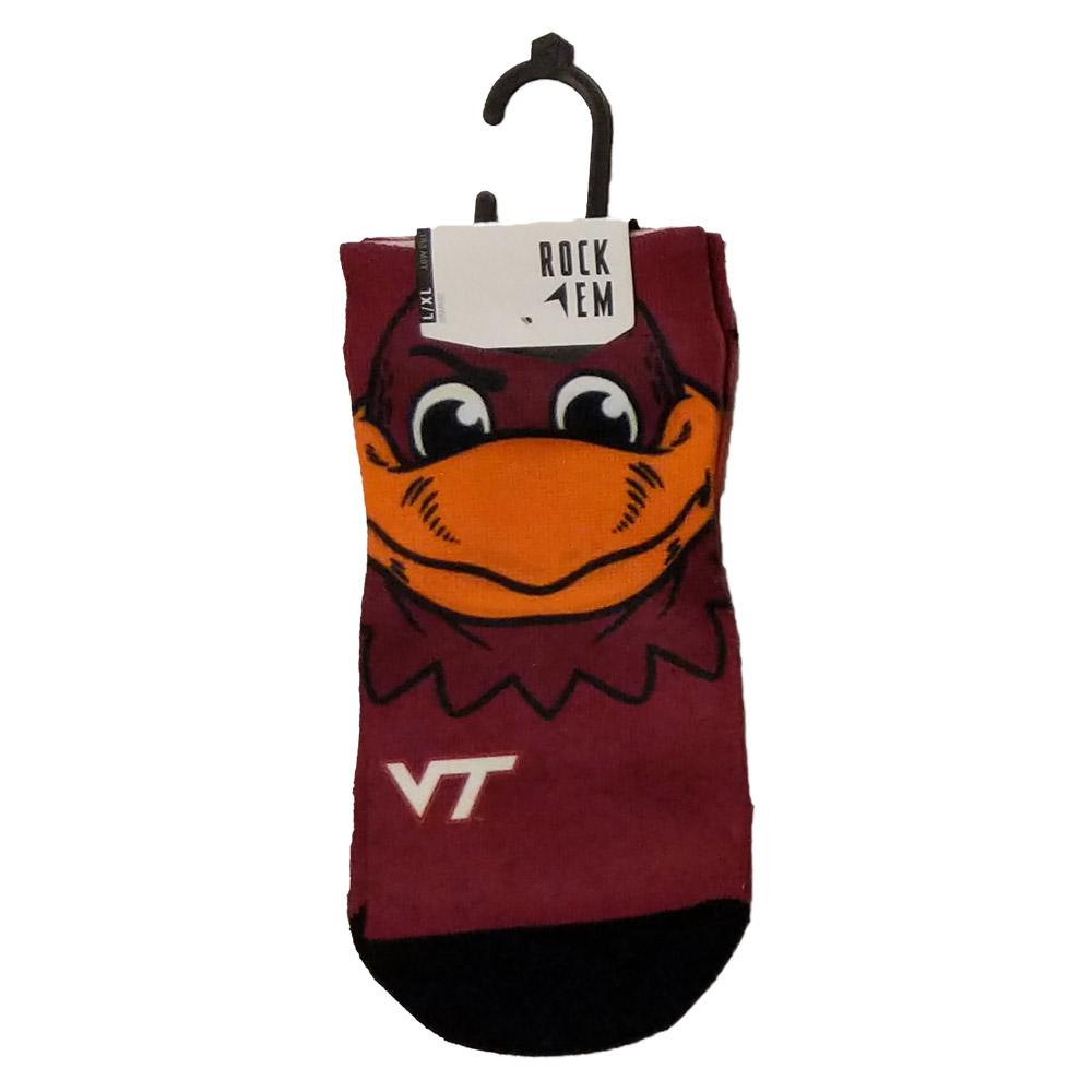 Virginia Tech Rock ' Em Low Cut Hokiebird Face Socks