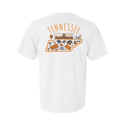 Tennessee Hand Drawn State Icons Comfort Colors Tee