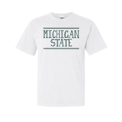 Michigan State Hand Drawn Double Bar Comfort Colors Tee