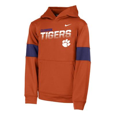 Clemson Nike Youth Therma Colorblock Hoody