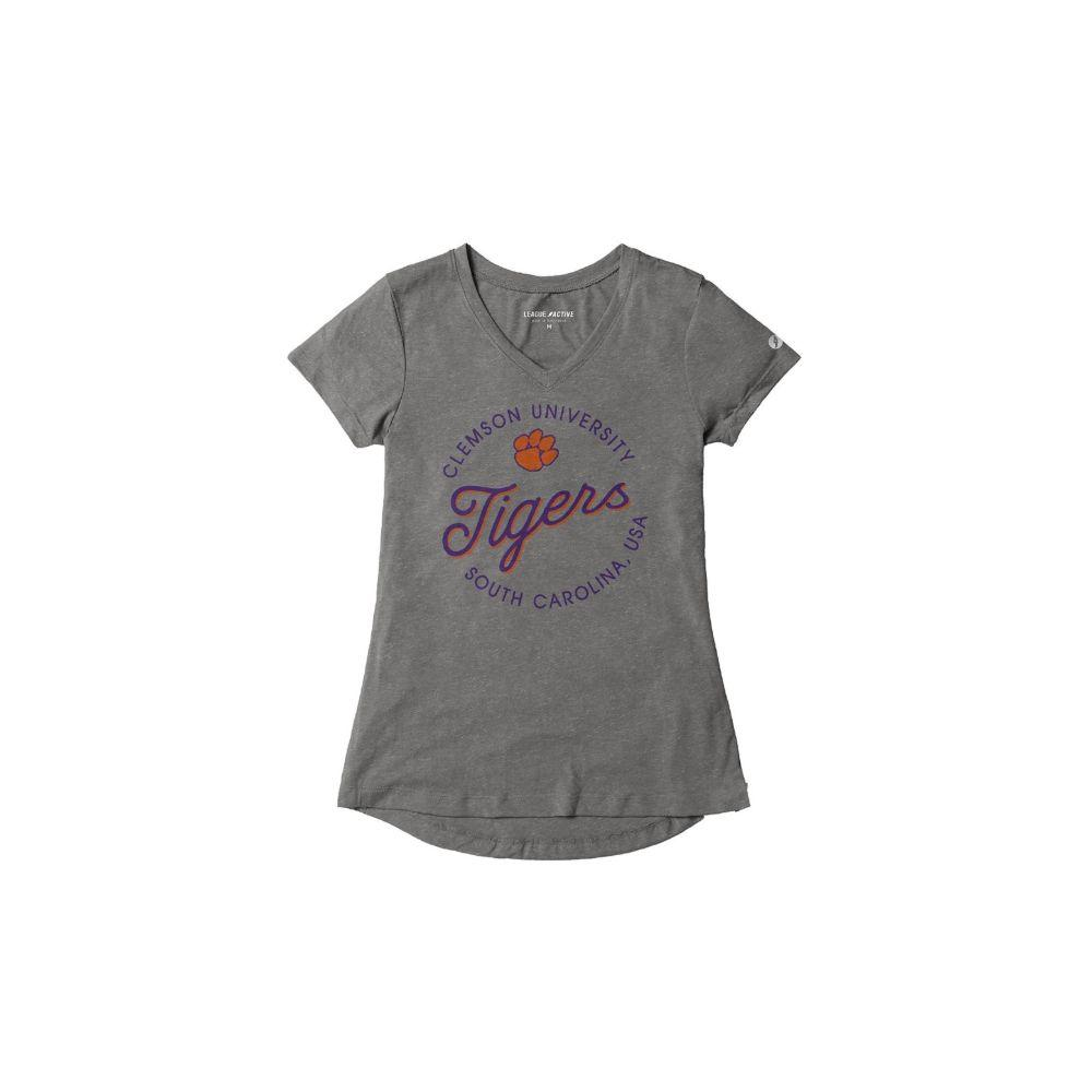 Clemson League Women's Tri- Flex Retro V- Neck Top