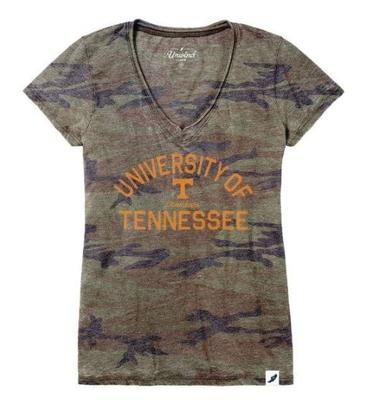 Tennessee League Women's Distressed Camo V-Neck Top