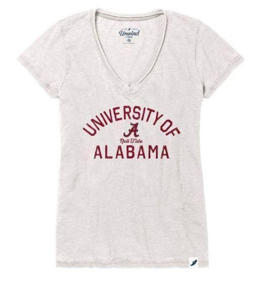 Alabama League Women's Distressed V- Neck Top
