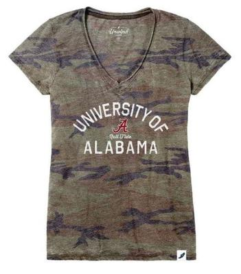 Alabama League Women's Distressed Camo V-Neck Top