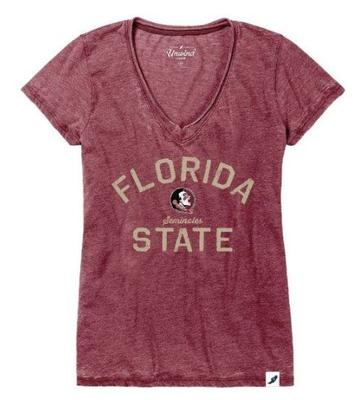 Florida State League Women's Distressed V-Neck Top