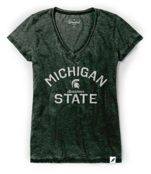 Michigan State League Women's Distressed V- Neck Top