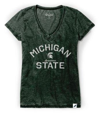 Michigan State League Women's Distressed V-Neck Top