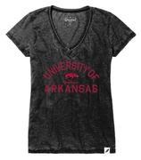 Arkansas League Women's Distressed V- Neck Top