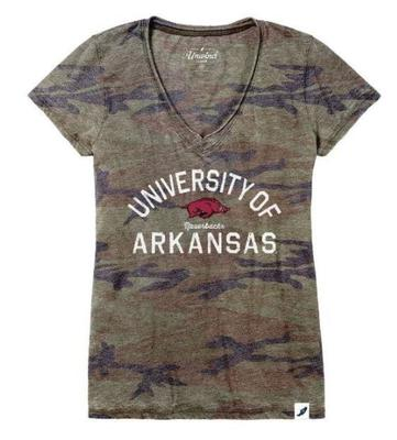Arkansas League Women's Distressed Camo V-Neck Top