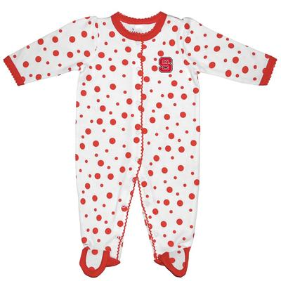 NC State Infant Polka Dot Footed Creeper