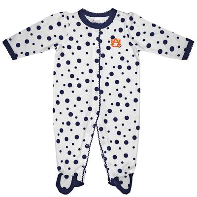 Auburn Infant Polka Dot Footed Creeper