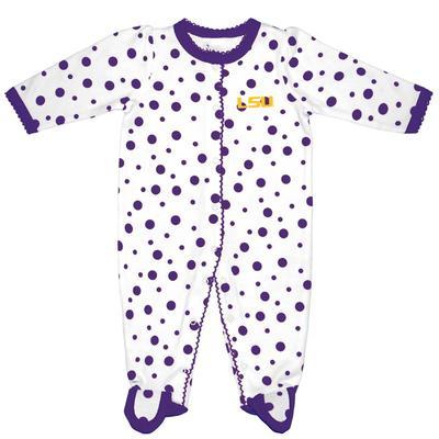LSU Infant Polka Dot Footed Creeper