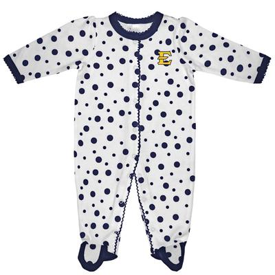 ETSU Infant Polka Dot Footed Creeper